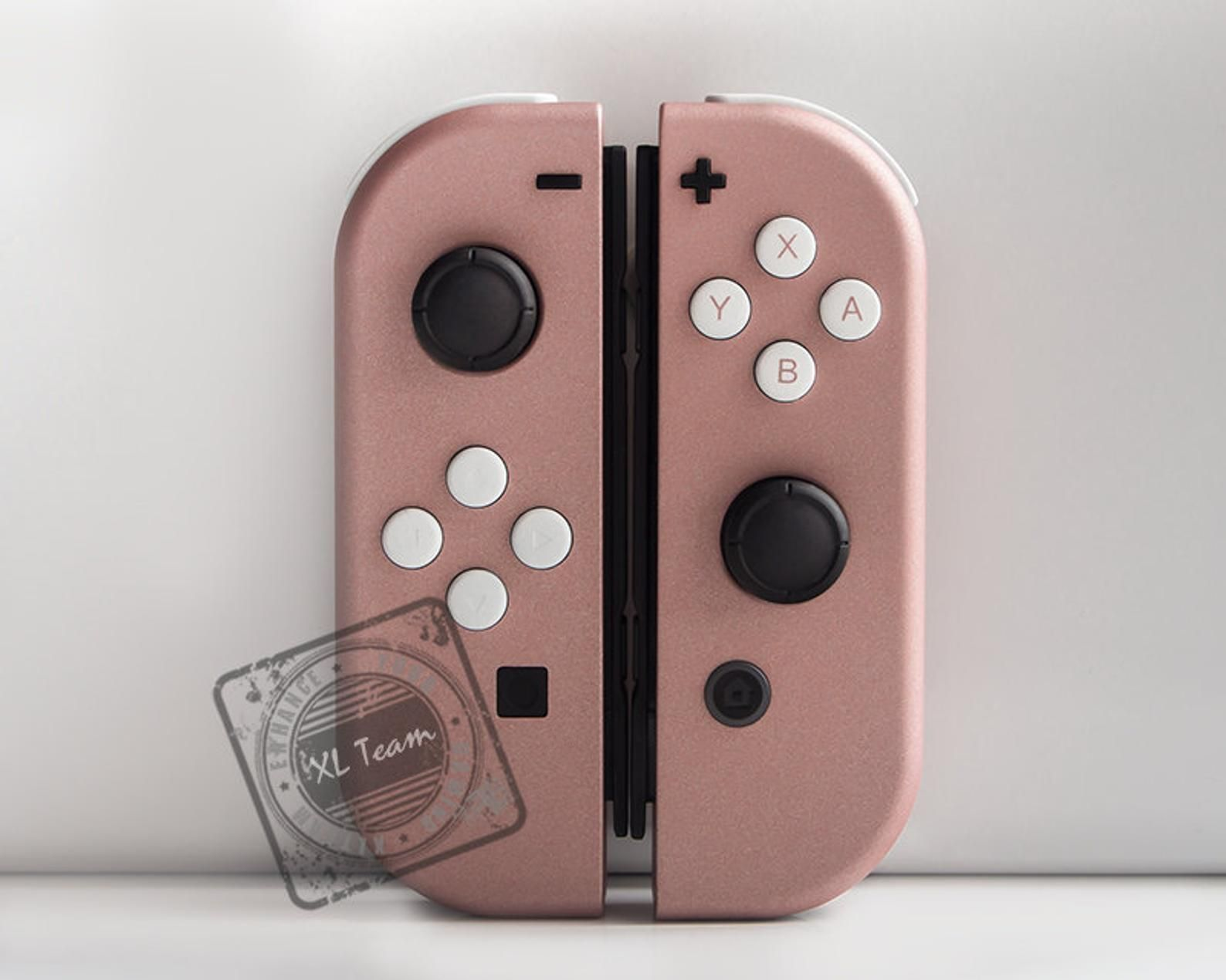 Custom Rose Gold Nintendo Switch Joy Con Joycon Controllers With White Buttons In 2020 Nintendo Switch Case Nintendo Switch Rose Gold