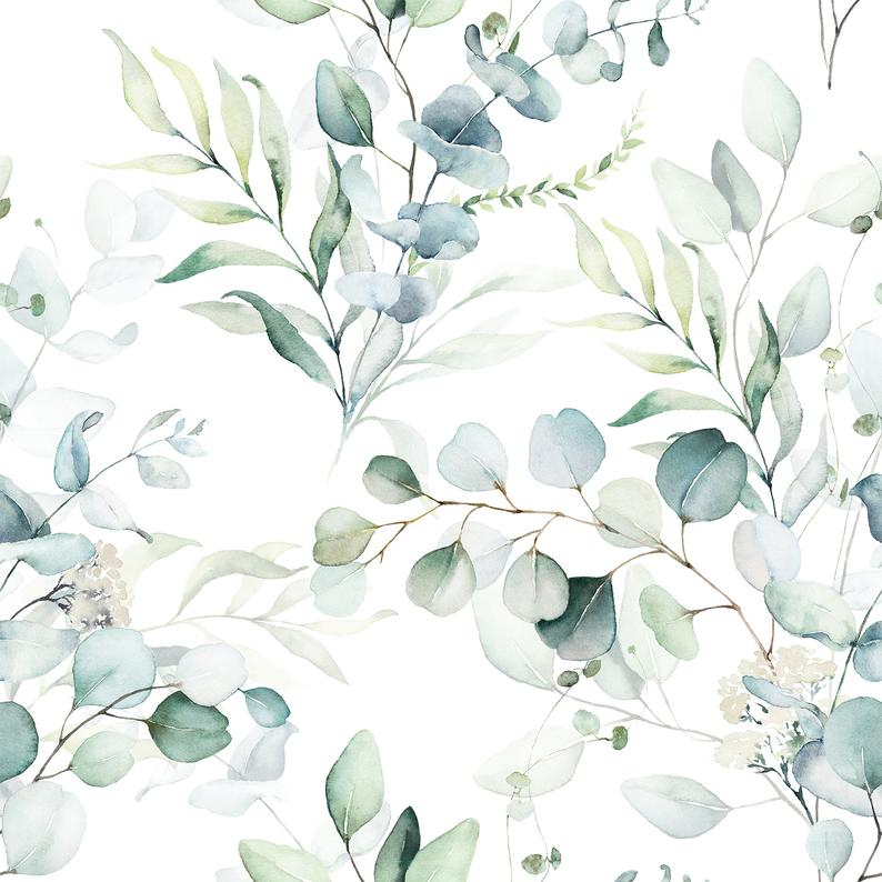 Removable Peel And Stick Wallpaper Green Leaves Branches Eucalyptus Plant Wallpaper Watercolor Floral Pattern Floral Watercolor Watercolor Wallpaper