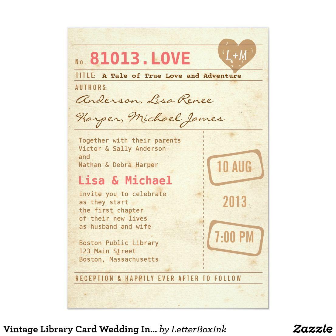 Vintage Library Card Wedding Invitation A fun invitation design with ...