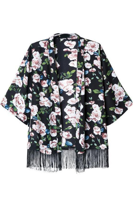 Black Half Sleeve Floral Tassel Kimono - Sheinside.com