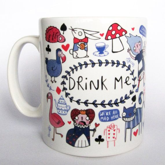 Drink Me - Alice in Wonderland inspired Ceramic Mug - Gift for her - Gift for him - Classic Literature - Book worm - Katie Abey - book lover