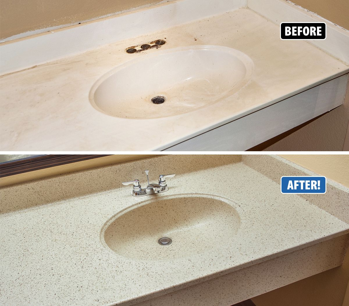 This Cultured Marble Sink And Vanity Are All In One Piece And Replacement Would Have Posed A R Cultured Marble Countertops Cultured Marble Refinish Countertops