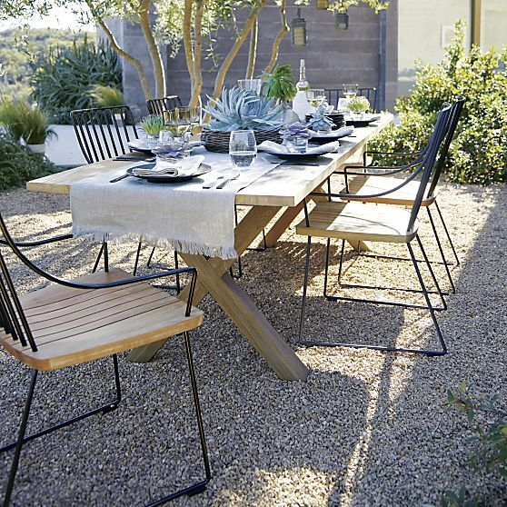 Communal 98 Dining Table In Communal Berkshire Collection Crate And Barrel Outdoor Dining Furniture Patio Furniture Sets Outdoor Dining Chairs
