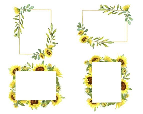Photo of The set of sunflower wreaths and frames includes sunflower wreaths, sunflower frames, yellow flower frames, crystal frames and border patterns