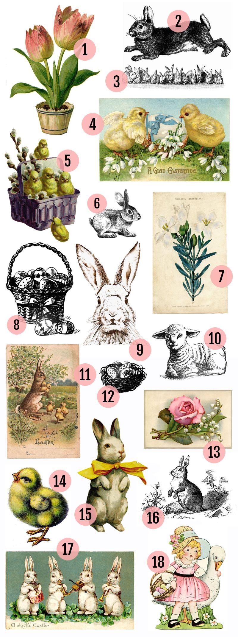 Free Vintage Easter Clipart | Vintage easter, Easter ... Easter Clip Art Free Retro