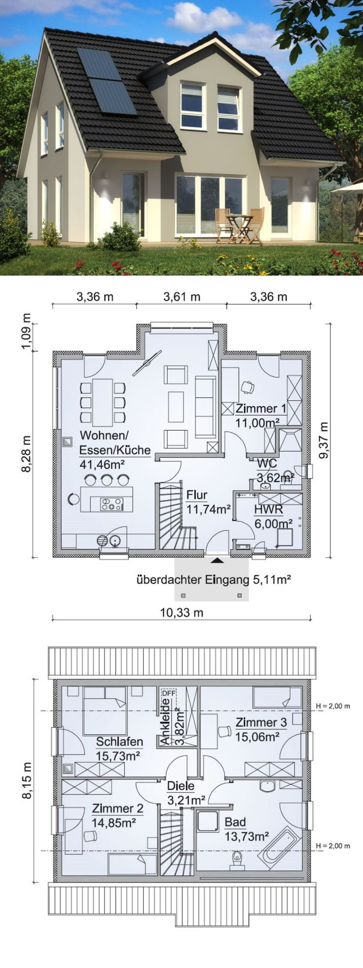 Single Family House New Building Floor Plan With Pitched Roof Architektur Zwerchgiebel Hau Archit Affordable House Plans Building A House Floor Plans