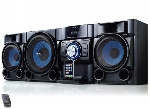 "Sony 540 Watt All-In-One iPod & iPhone Audio Hi-Fi Stereo Sound System with CD Player, Digital Tuner AM/FM Receiver with 30 Presets, DSGX Bass Boost, 7 Equalizers, 4 Play Modes, 3-Way Bass Reflex Speakers, 8"" Sub-Woofer & Full Function Remote Control with Full iPod Menu by Sony. $239.99. Add music to any room, or office with this Hi-Fi stereo system.Listen to CDs, AM/FM programming, or use the built-in dock to control & play your compatible iPod or iPhone while charging i..."