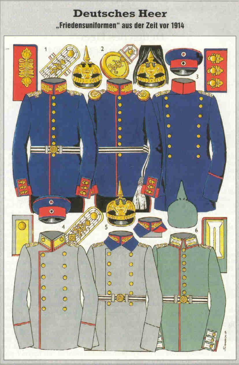 Vorkriegsuniformen Des Deutsches Kaiserreiches In Den Jahren Vor