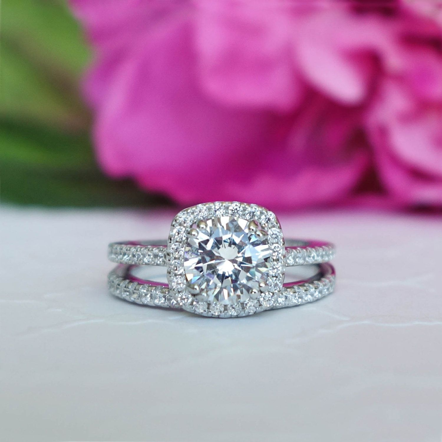 1.25 ctw Classic Square Halo Engagement Set, Man Made Diamond ...