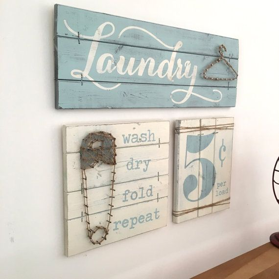 This Is A Set Of Three Laundry Room Decor Signs A Laundry Sign With String