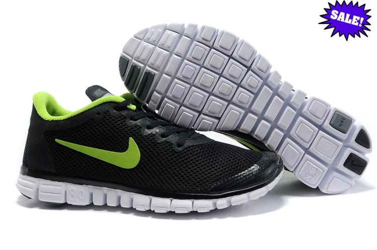 2014 Black Green Mens Nike Free 3.0 V2 Large Net Shoes 268344 ENFD