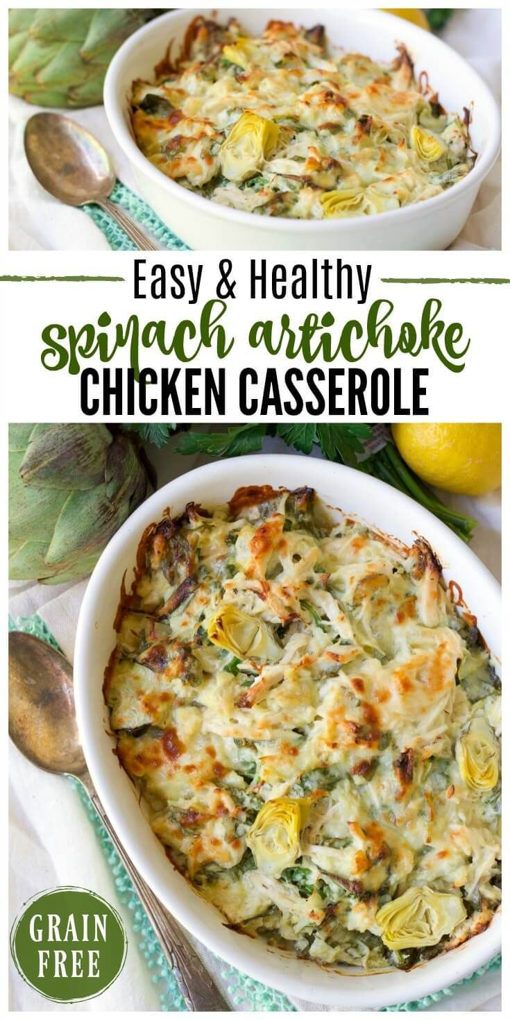 Spinach Artichoke Chicken Casserole (ad) This Healthy Spinach Artichoke Chicken Casserole is total comfort food.It's easy to make, packed withprotein, brimming with spinach and artichoke hearts and full of flavor. | Recipes to Nourish // Gluten Free | Grain Free | Comfort Food | Real Food | Dinner via @recipes2nourish(ad) This Hea...