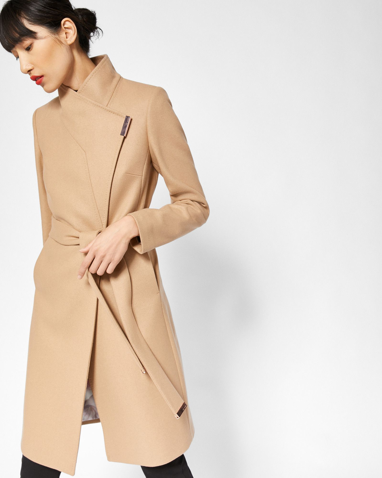 0485cceda ... Ted Baker s sophisticated coats and jackets for women. The Fashion  News. Cashmere-blend wrap front coat - Camel