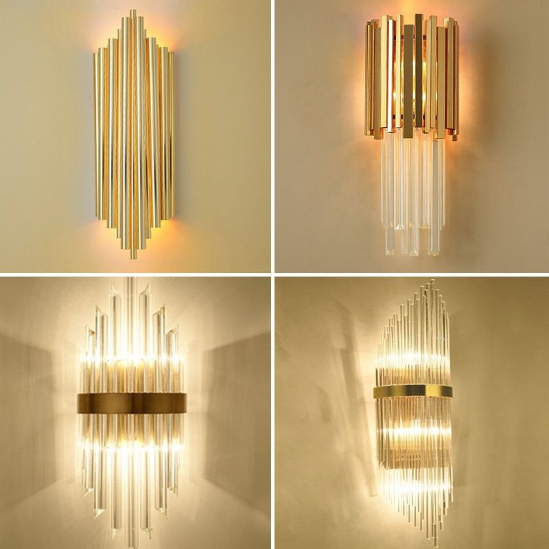 Modern Minimalist Glass Crystal Led Wall Lamp Gold Indoor Living