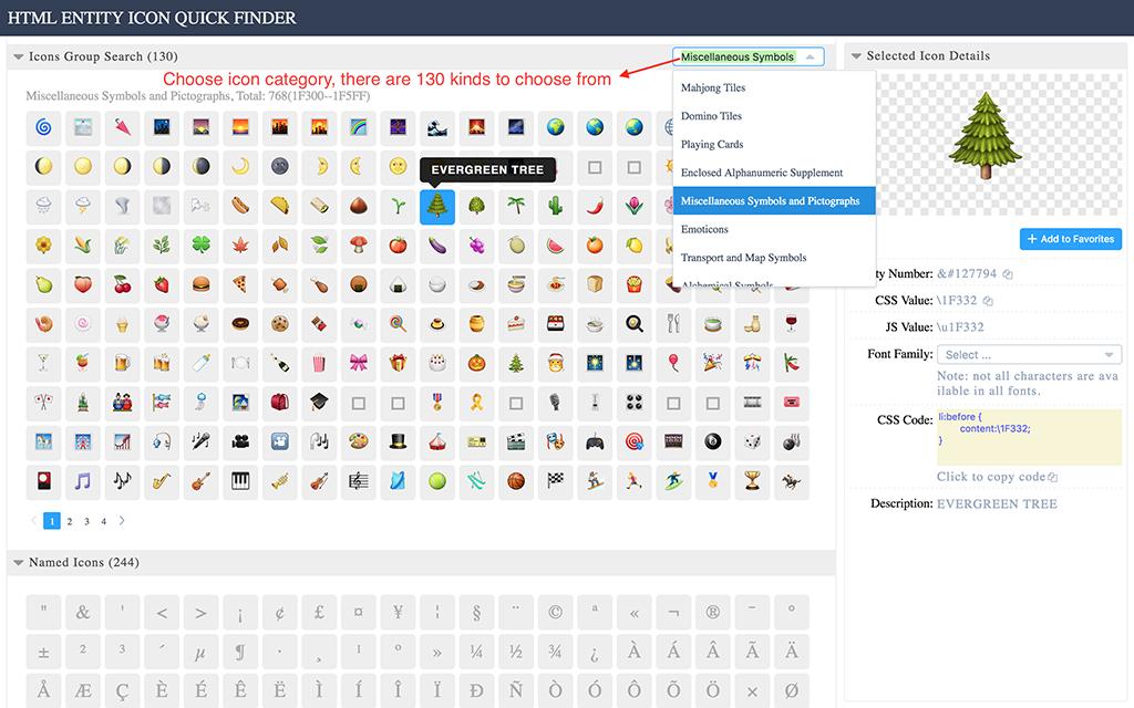 HTML Entity Quick Search Map symbols, Web development