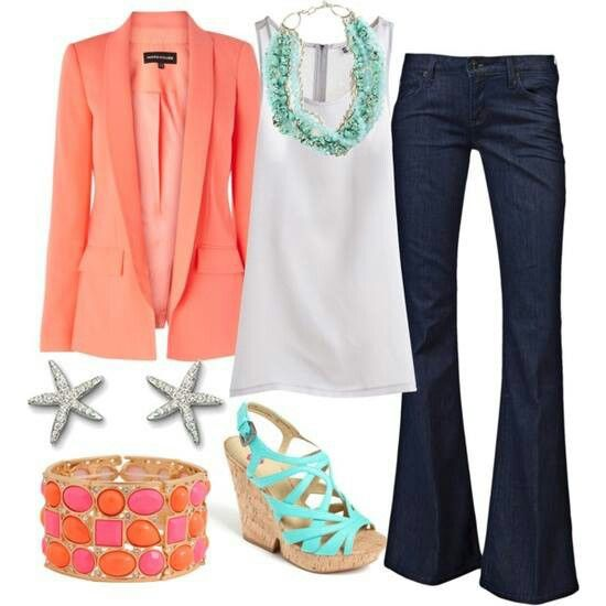Coral Jacket, Jeans, White Top And Turquoise Statement