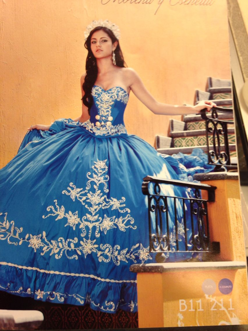 18699aac1 Blue and White Charra Quincenera Dress