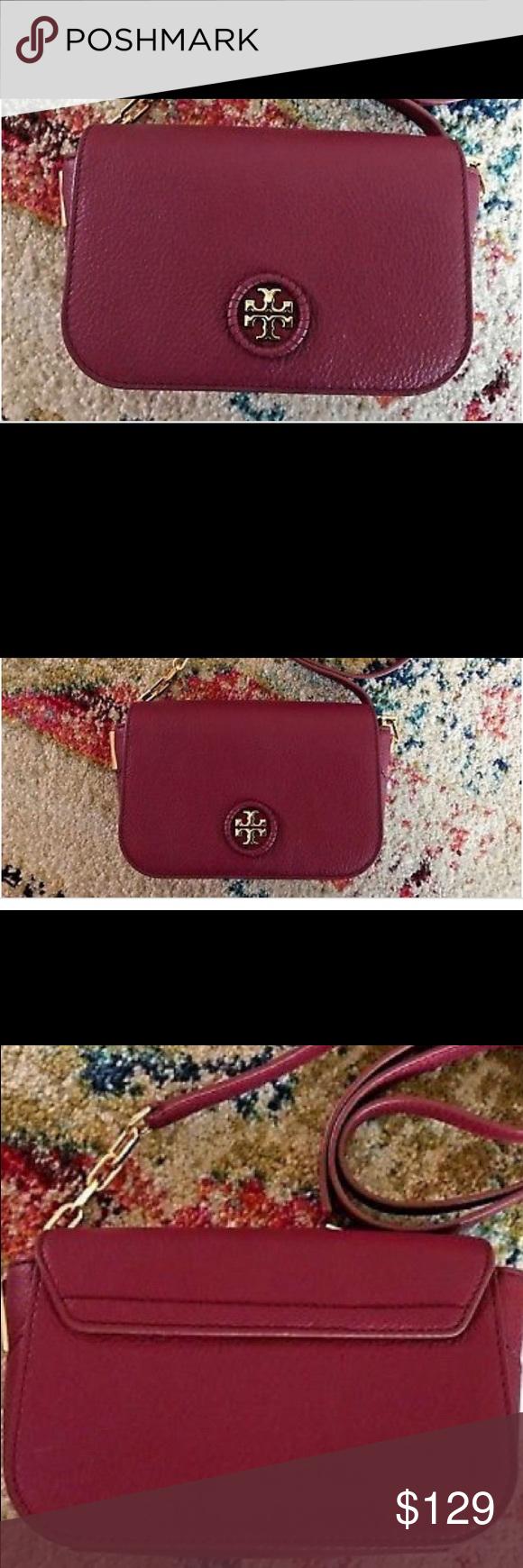 "416c8561104 TORY BURCH Whipstitch Logo Mini Crossbody Bag NWOT Red Agate crossbody 7"" pebbled  leather bag"