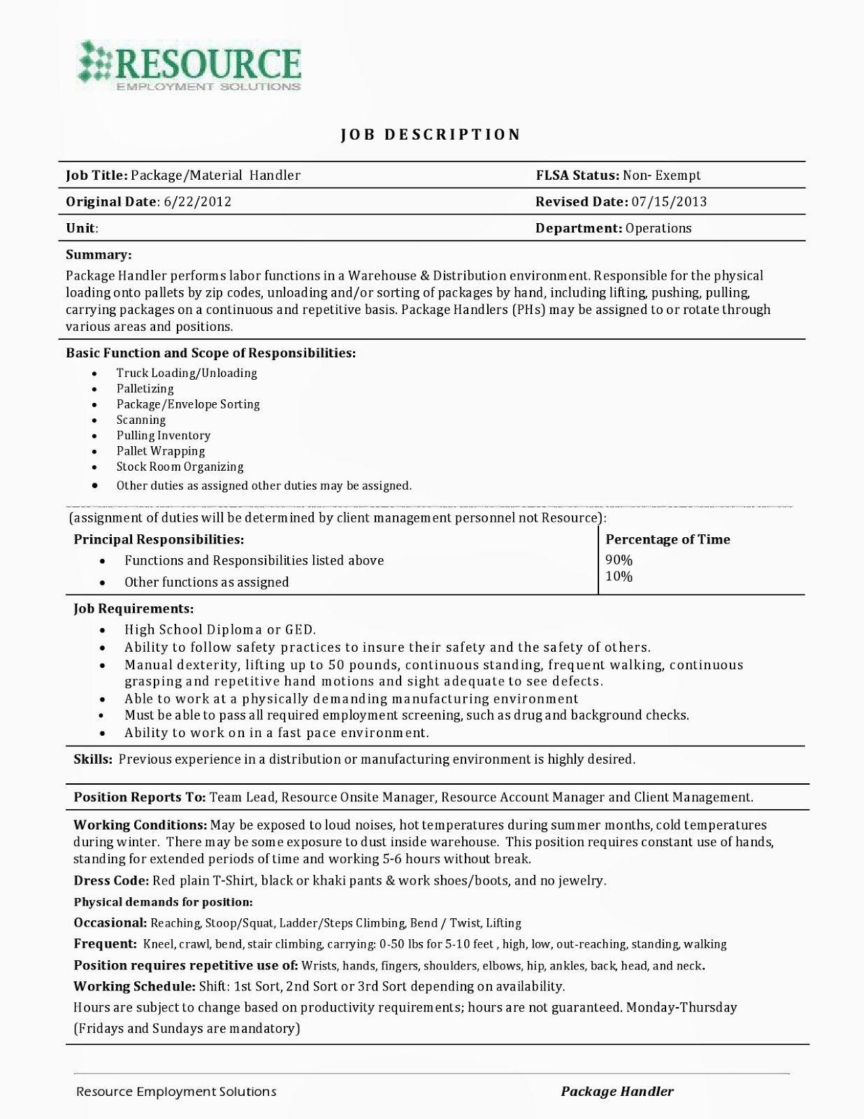 Fedex Package Handler Resume Lovely 12 13 Fedex Material Handler Resume Job Resume Samples Resume New Grad Nursing Resume
