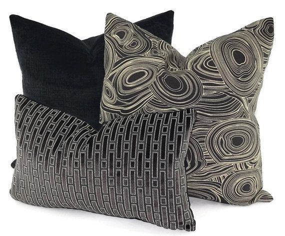 12X20 Pillow Insert Extraordinary Black White & Charcoal Geometric Cut Velvet Lumbar Pillow 12X20 Design Ideas