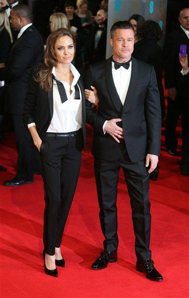 In London, Angelina jolie and Brad Pitt were matching for the 2014 EE British Academy Film Awards