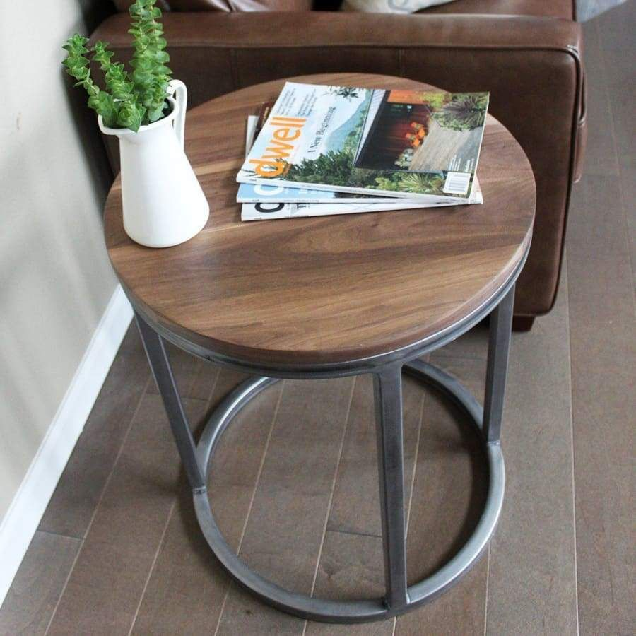 Round Walnut Wood And Metal Coffee Table And Two End Tables Set Free Jw Atlas Wood Co Metal Coffee Table End Table Sets Metal End Tables Set of two end tables