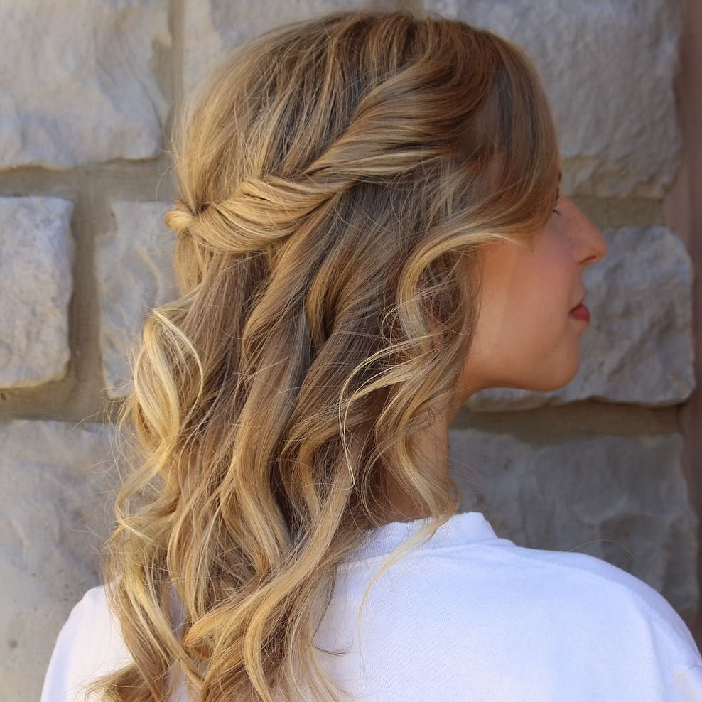 A half up with loose curls for this Homecoming beauty by # ...