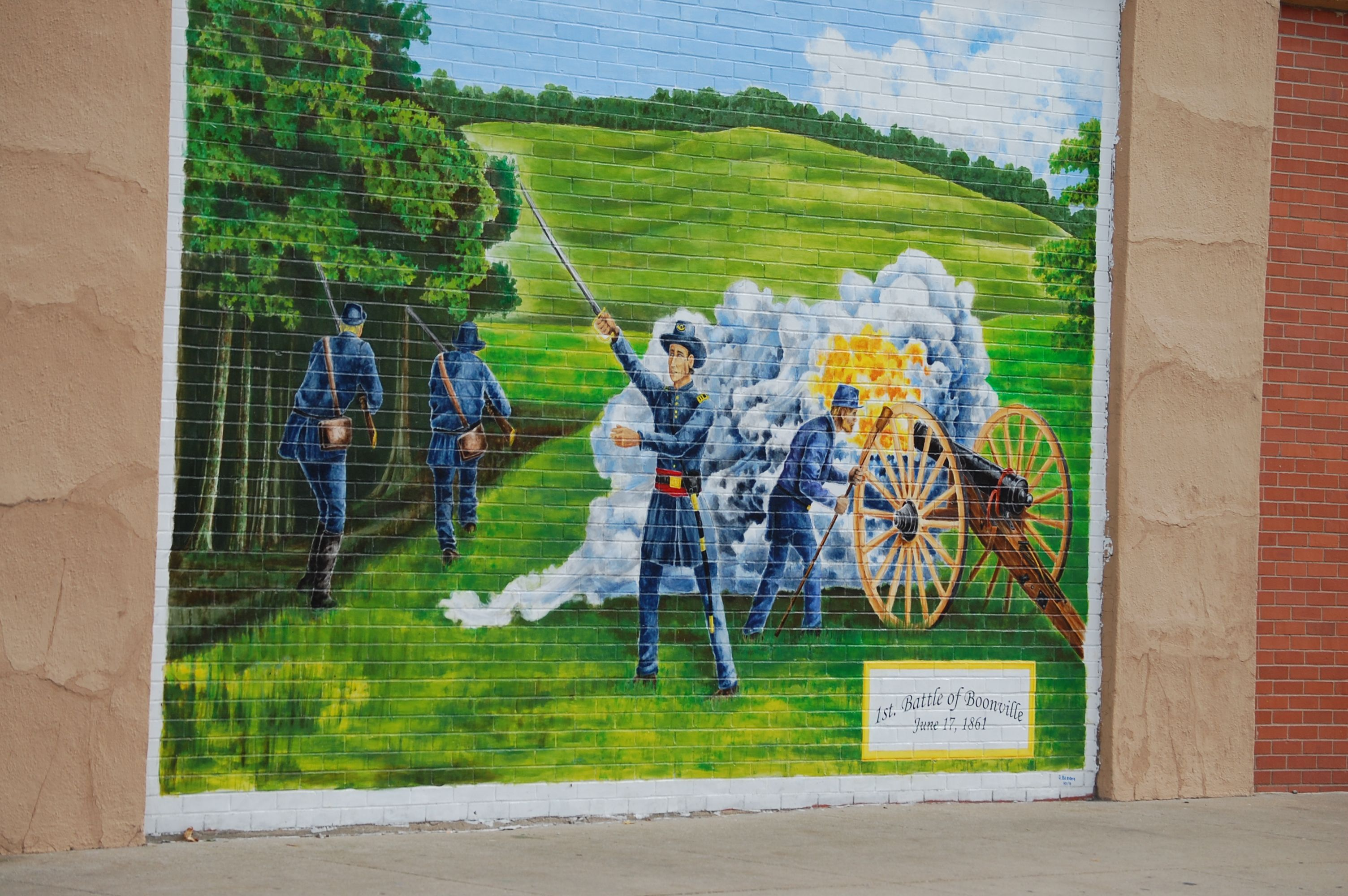 Wall Mural Depicting Civil War In Boonville, Missouri