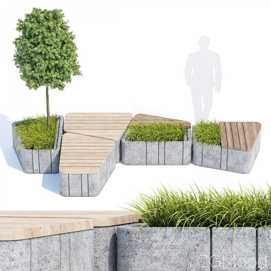 Seats And Benches 3d Model For Vray Furnitubes Trapezoid Grass Pot Triangle Urban Landscape Design Urban Furniture Design Landscape Architecture Design