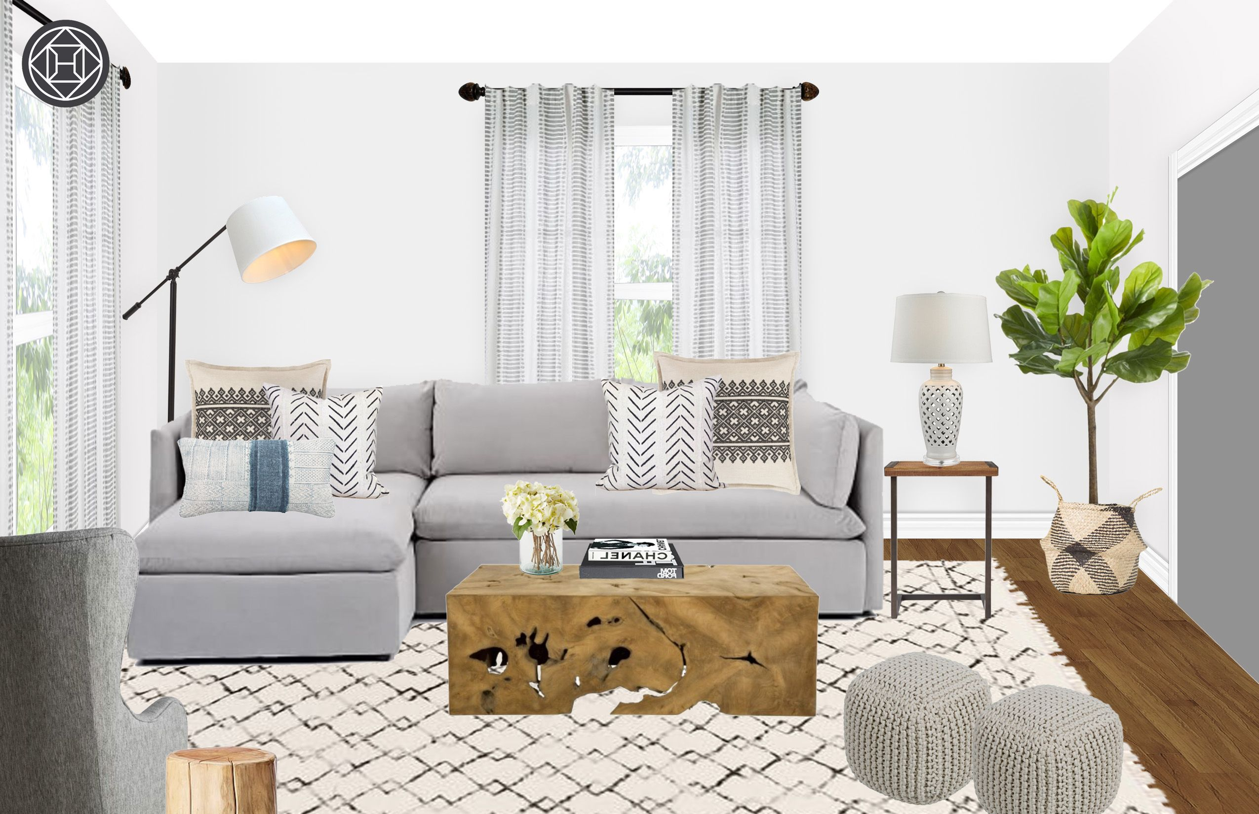 Farmhouse, Rustic, Global Living Room Design by Havenly ...