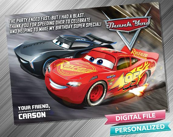 Cars 3 Thank You Card Birthday Invitations Invitation Parties