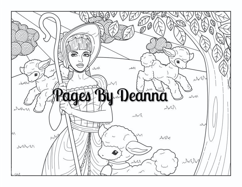 Little Bo Peep Coloring Page With Images Coloring Pages Little Bo Peep Sketches