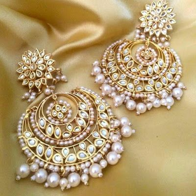 Image result for pair of colourful meenakari chandbalis adorned with pearls always makes up for a perfect ethnic look.