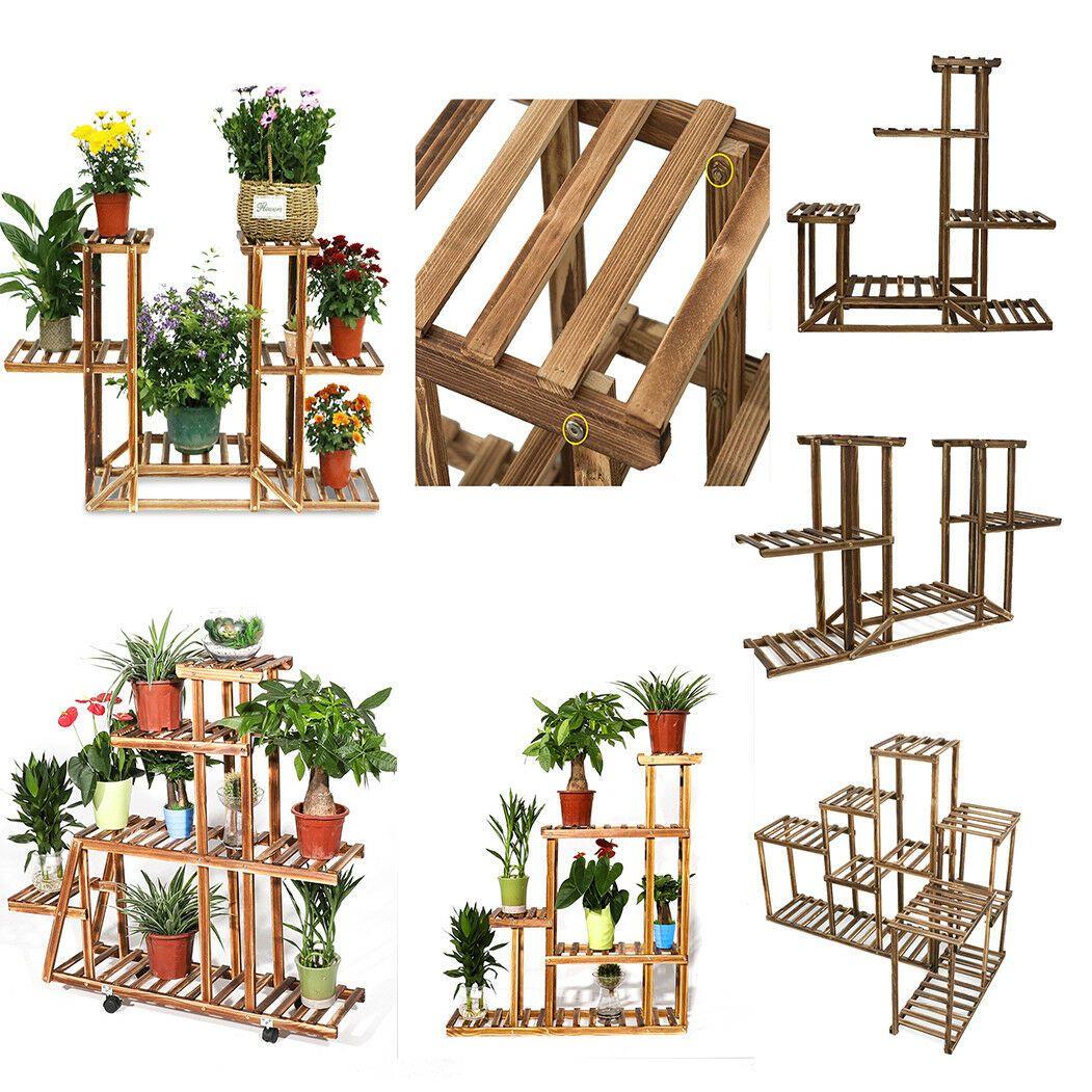 Diy Multi Wooden Plant Stand Shelves Rack Flower Pot Decor Shelf Indoor Garden Plant Holder Ideas Of Pla Plant Holders Plant Holder Diy Wooden Plant Stands