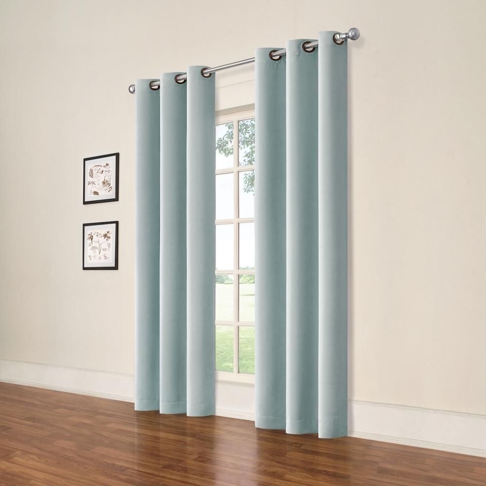 Eclipse Darrell Spa Blue Blackout Window Panel 37 In W X 84 In L 2 Pack 17523074x084spl Drapes Curtains Curtains