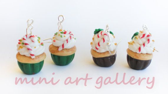 Christmas cupcake earrings Perfect for the baker in the family