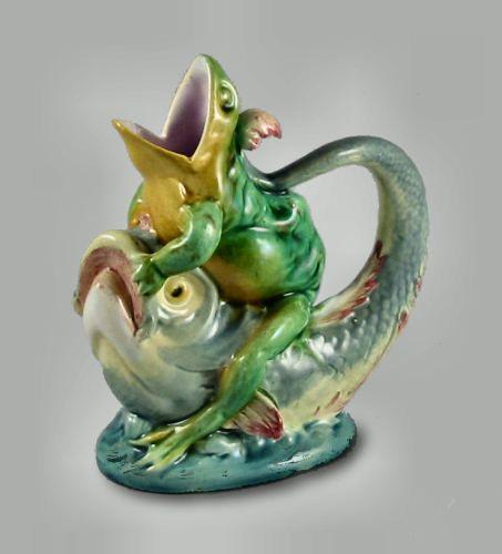 Minton Majolica Frog Jug ~ Extremely Rare ~ English ~ 1876