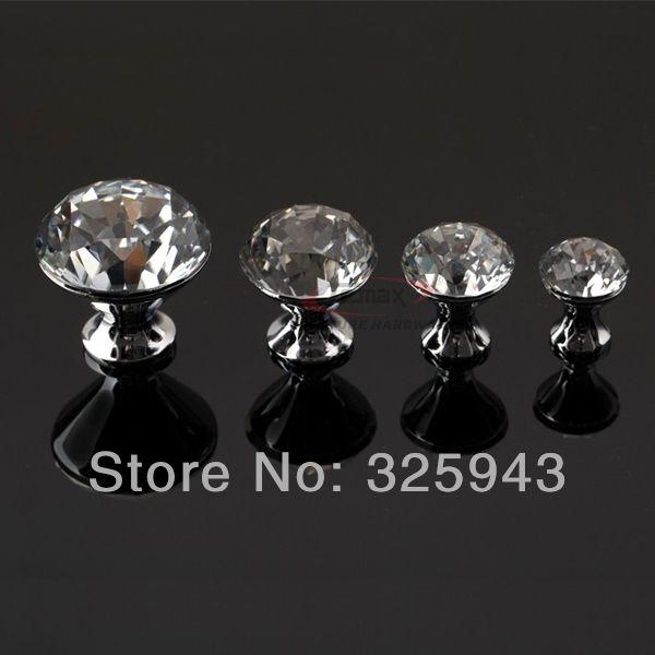 2pcs 40mm Modern K9 Crystal Door Knobs And Handles Glass Dresser ...