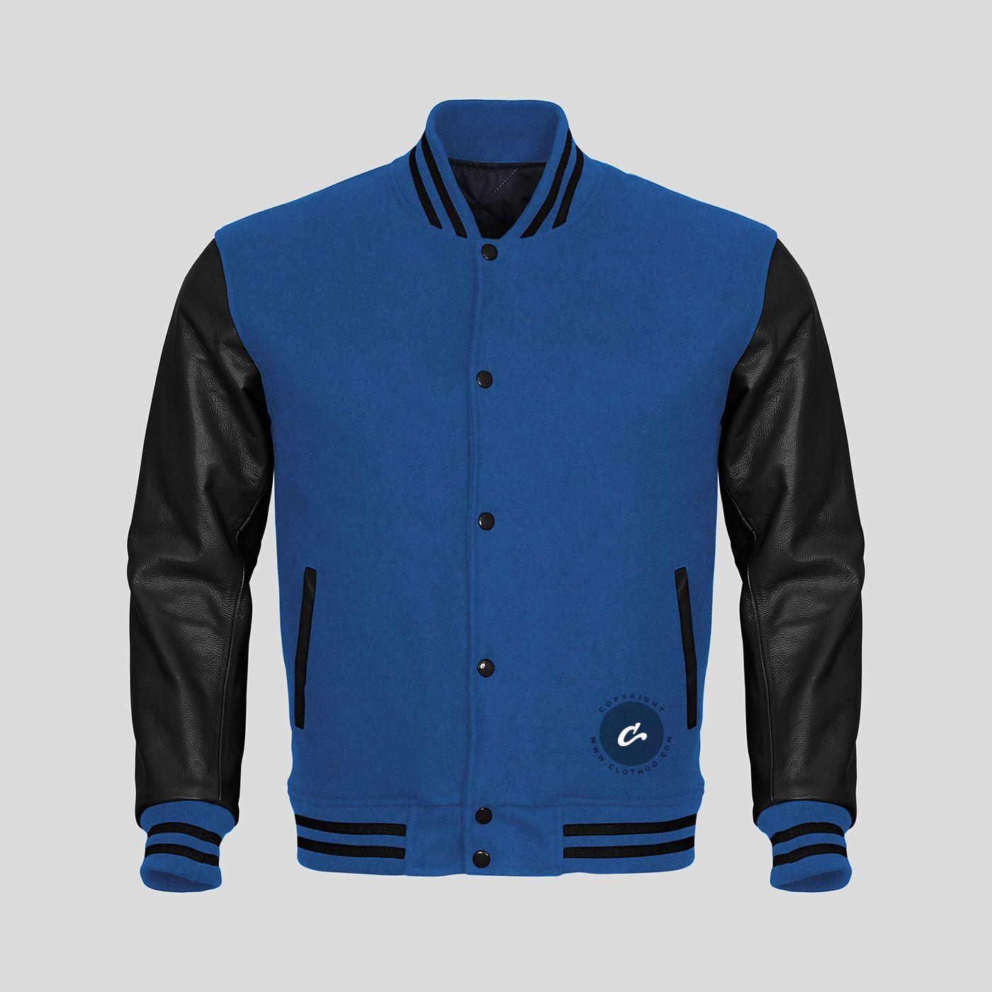 Black Leather Sleeves Blue Wool Varsity Jacket Leather