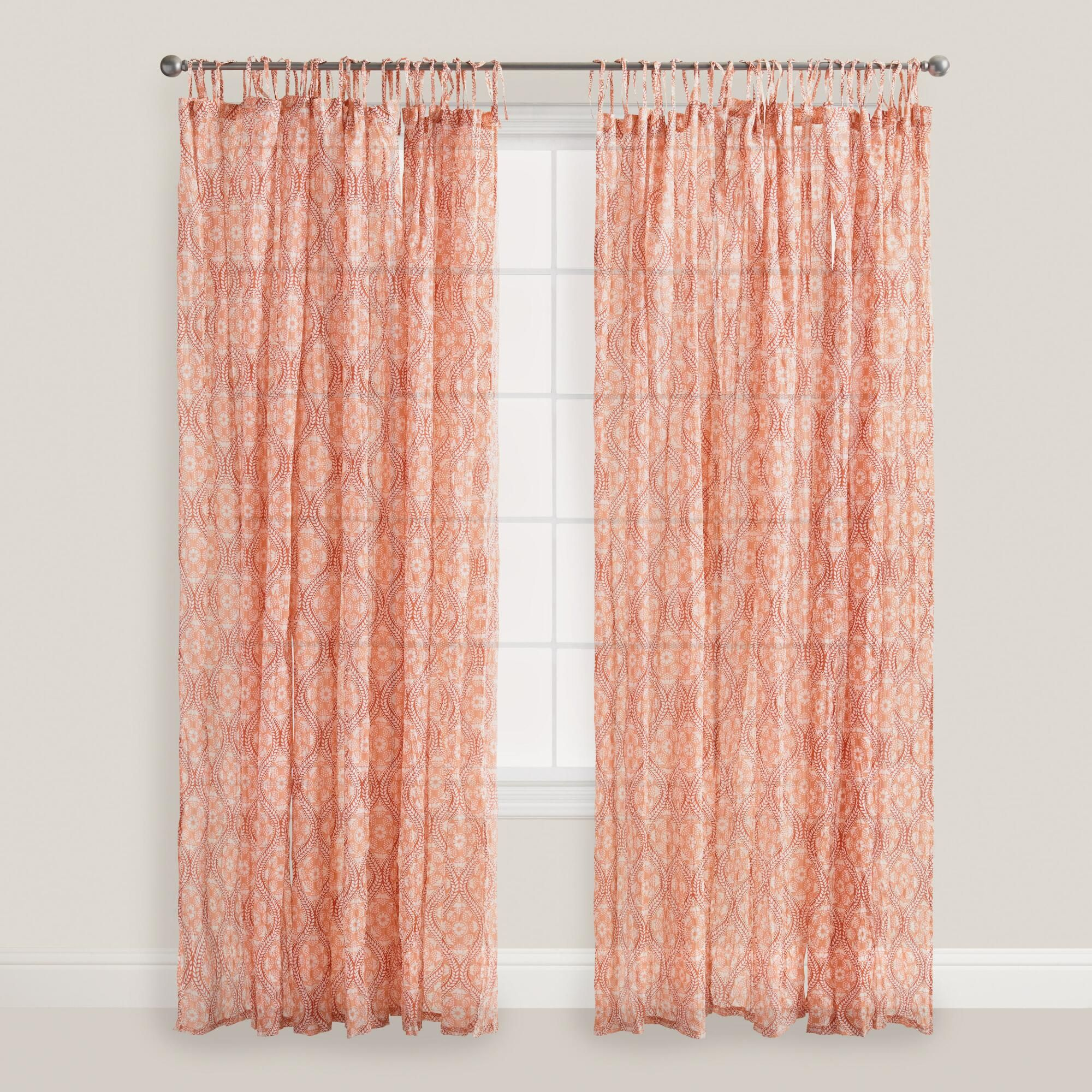 Light peach curtains -  39 99 Crafted Of Cotton Voile With Our Coral Ogee Medallion Pattern Our Exclusive Tie