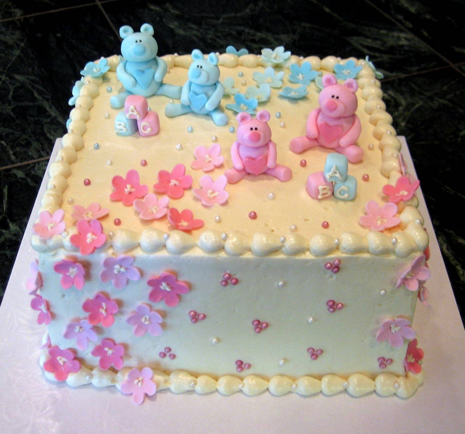 Jillicious Discoveries Three Purple Wedding Cakes: Pastel Baby Shower Cakes For Twin Boy And Girl