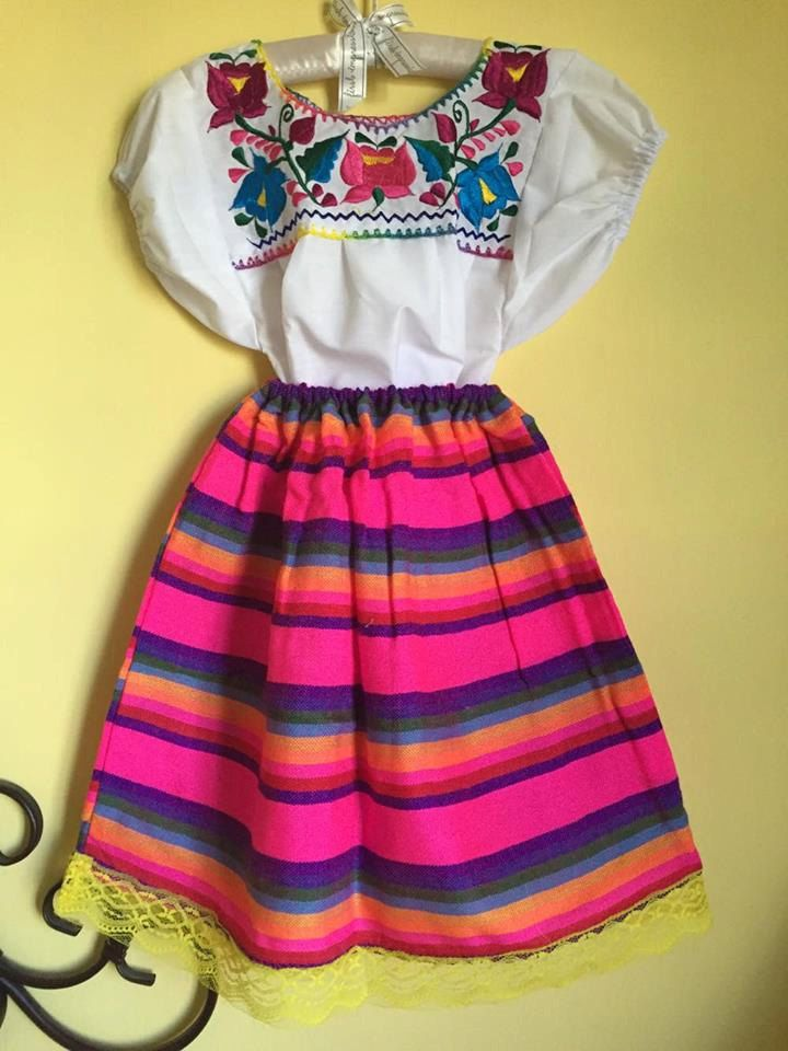 Mexican girls set blouse skirt sarape mexican party day of the dead ...