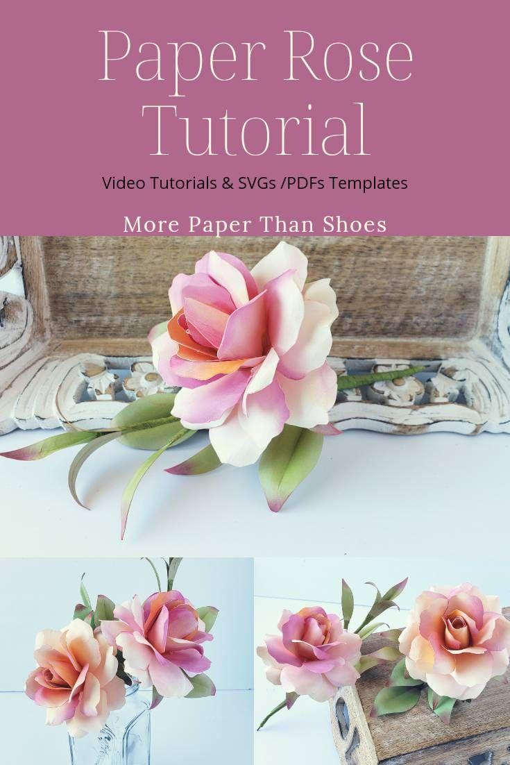 Easy Paper Flower Tutorial - Paper Flower Templates - Cybil Stemmed Rose - 3D Flowers - SVG/PDF - Small Flowers - Wedding Decor #paperflowertutorial