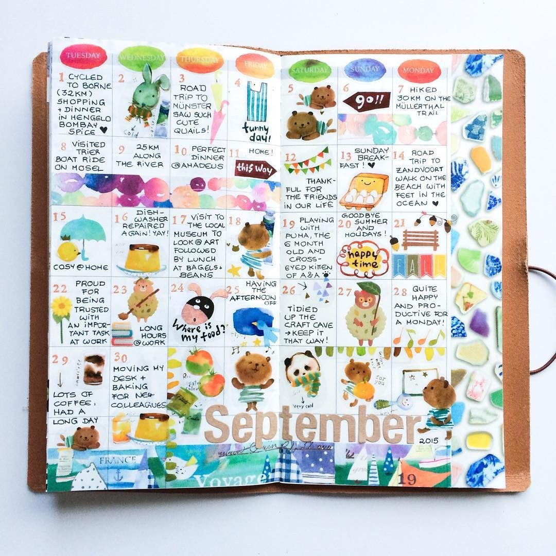 03.10.2015: September in my happiness journal #midori #mtn #notebook #travelersnotebook #travelersnote #travelersfactory #travelerscompany #midoritravelersnotebook #loveforanalogue #decoratedpages #journaling #monthlypages #monthataglance #sempicismonthlypages