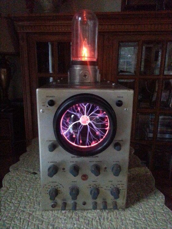 Plasma Ball Installed Inside A Vintage Osiliscope On Top