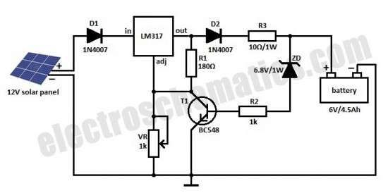 Here is a solar charger circuit that is used to charge