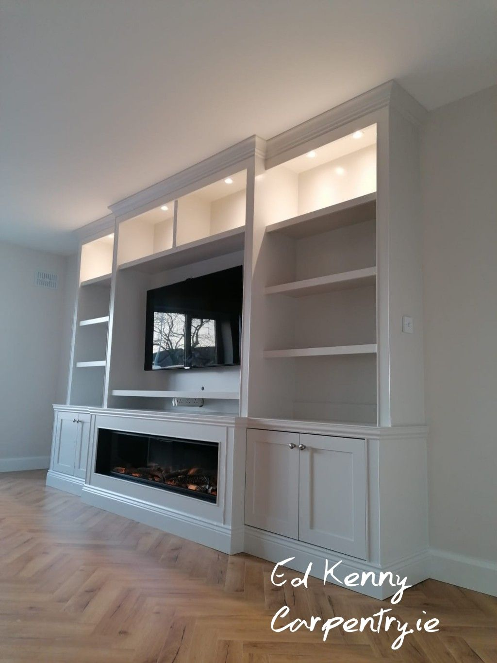 Bespoke Tv Unit With Electric Fire Built In Shelves Living Room Feature Wall Living Room Living Room Built Ins