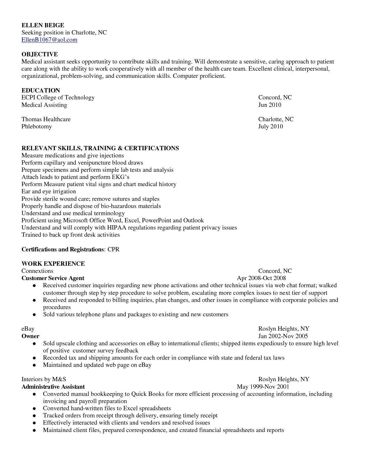 medical assisting resume objectives Medical assistant