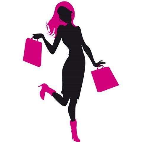 256b510bfb970 Dibujo de silueta de chica con bolsas compras en ambas manos ...
