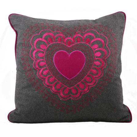Valantine 45x45cm Cushion, Grey & Fuchsia